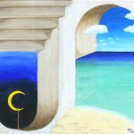 fine art surreal painting of day and night by Masako