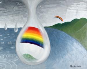 fine art original acrylic painting Promise by Masako