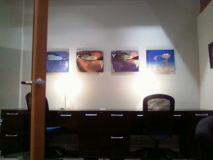 Original abstract paintings, Treasure series and surreal painting Solitude by Masako displayed at 757 Creative Space