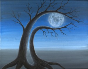 contemporary original surreal painting FULL MOON 2 by Masako