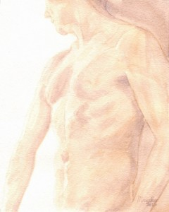 Watercolor &quot;Male Torso&quot; original painting by Masako Simmons