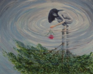 Surreal original painting reflection